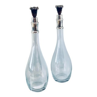 Antique Art Deco Decanters With Silver & Bakelite Cork Stoppers - a Pair For Sale