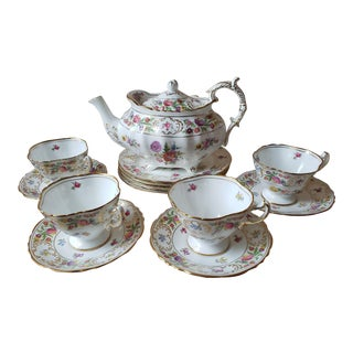 Vintage Hammersley Dresden Sprays Tea Set, England - 13 Piece Set For Sale