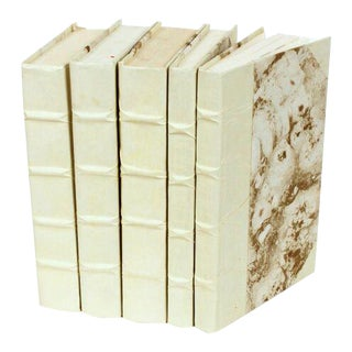 Parchment Collection Natural Tone Books - Set of 5