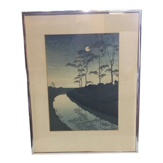 """A Country Scene (With Moon)"" Woodcut Print by Koho Shoda For Sale"