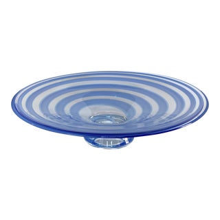 Large Blue Swirl Art Glass Footed Centerpiece Bowl For Sale