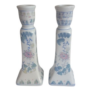 A Pair- Vintage Pink and Green Chinoiserie Ceramic Candle Holders