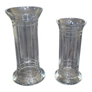 Greek Style Crystal Hurricane Vases - a Pair For Sale