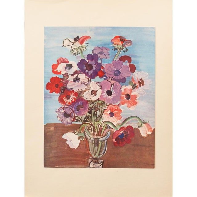 "Blue 1940s Vintage Original Swiss Period ""Bouquet"" Lithograph by Raoul Dufy For Sale - Image 8 of 8"