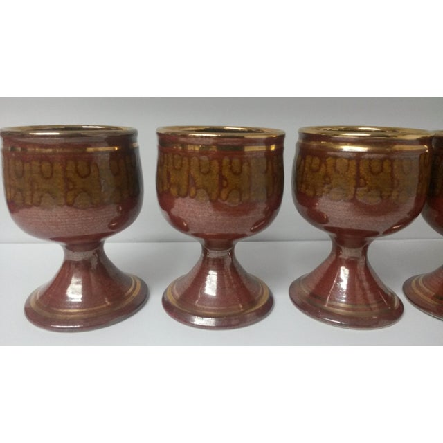 Mid-Century Artisan Pottery Rust and Gold Wine Goblets Signed Parker - Set of 6 For Sale - Image 4 of 13