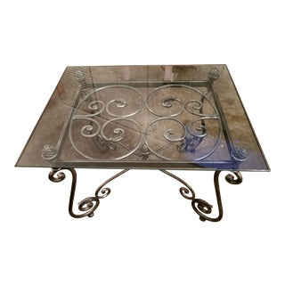Last Day Today Glass and Contemporary Scrolled Metal Accent/Coffee Table For Sale