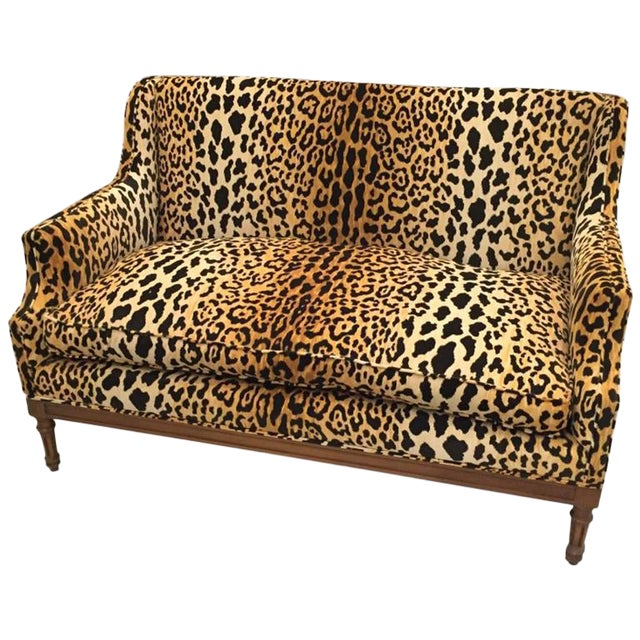 Mid-Century Leopard Print Sofa For Sale
