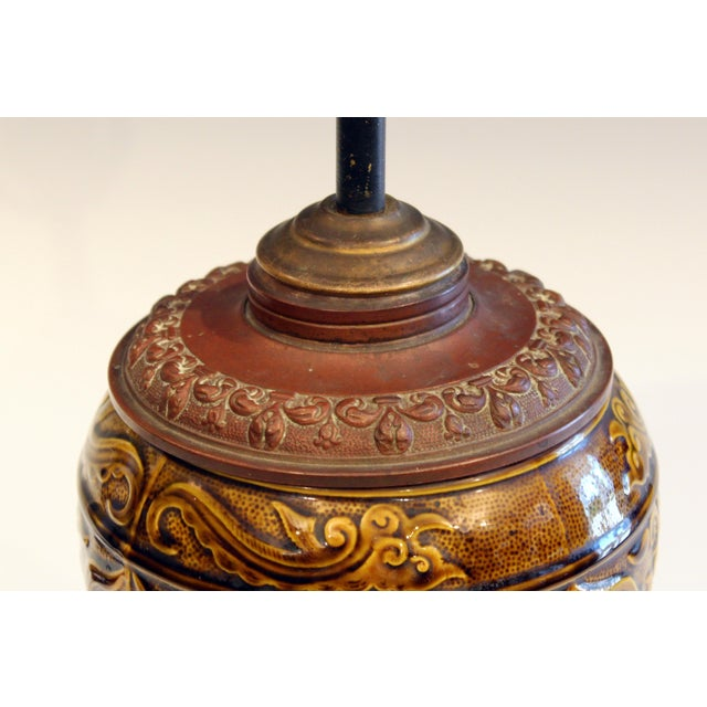 Late 19th Century Antique Old Gien French Pottery Deck Style Oil Lamp 19th Century Electrified For Sale - Image 5 of 11