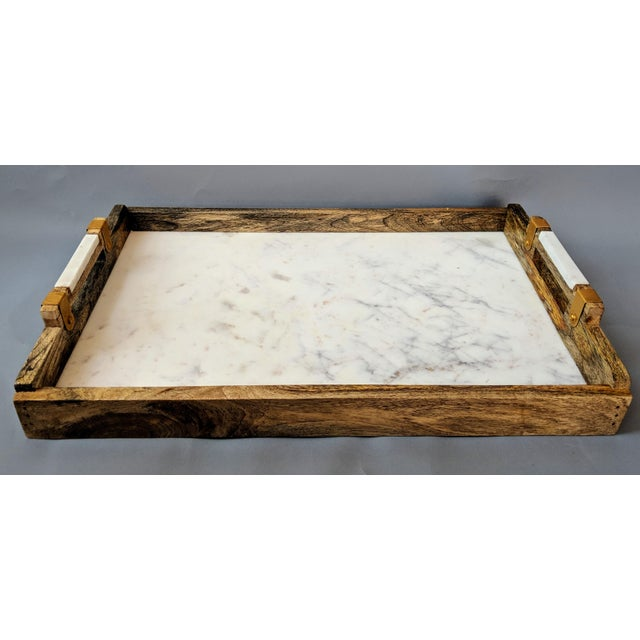 Handcrafted Wood & Marble Bar Tray For Sale - Image 12 of 12