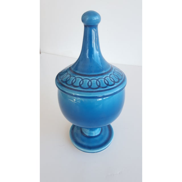 Vintage Palm Springs style Cerulean Blue Compote Bowl/Apothecary Jar with Lid Perfect for shelf styling, and could even be...
