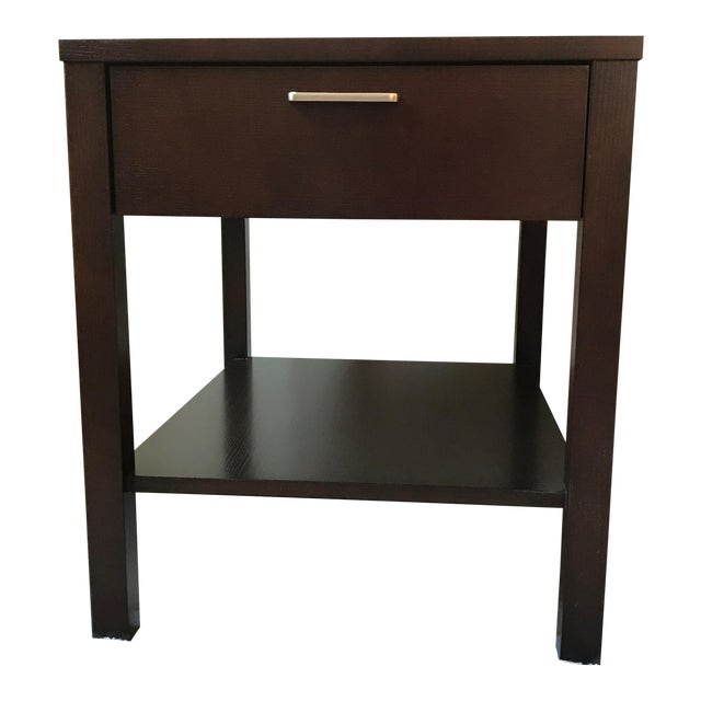 Ethan Allen Contemporary Dark Wood One Drawer End Table Chairish