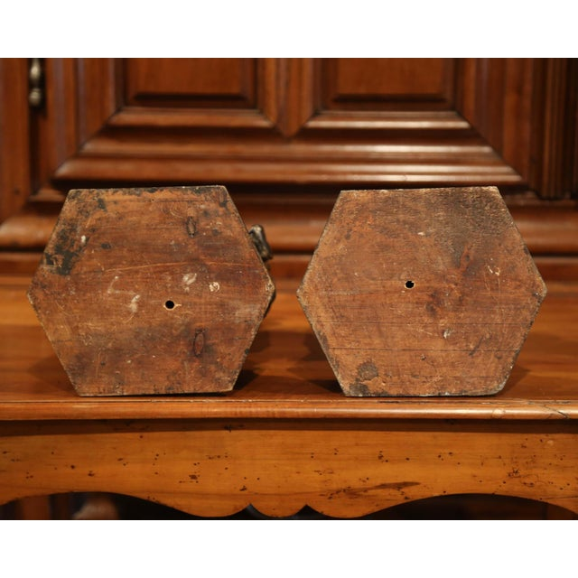 Pair of Italian Carved Lamp Bases With Polychrome Antique Painted Finish For Sale - Image 10 of 12