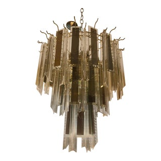 1960s Vintage Lucite and Glass Waterfall Chandelier For Sale