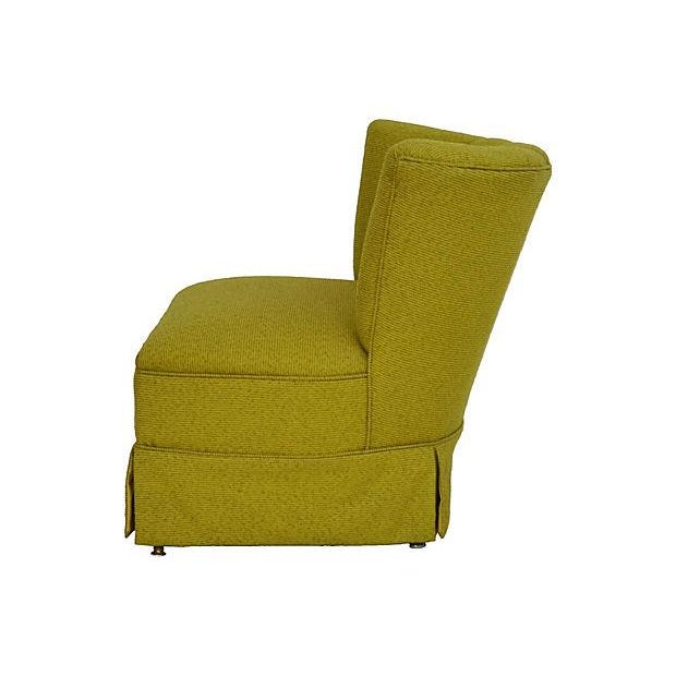 Mid-Century Green Channel Tufted Slipper Chair - Image 3 of 5