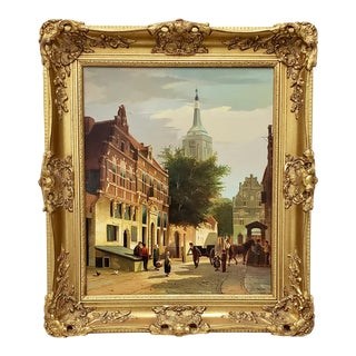 """Willem Heijkoop """"View of a Dutch Town"""" Original Oil Painting 19th C. For Sale"""