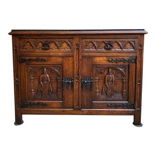 Antique French Carved Oak Sideboard Cabinet Black Marble Renaissance Gothic For Sale