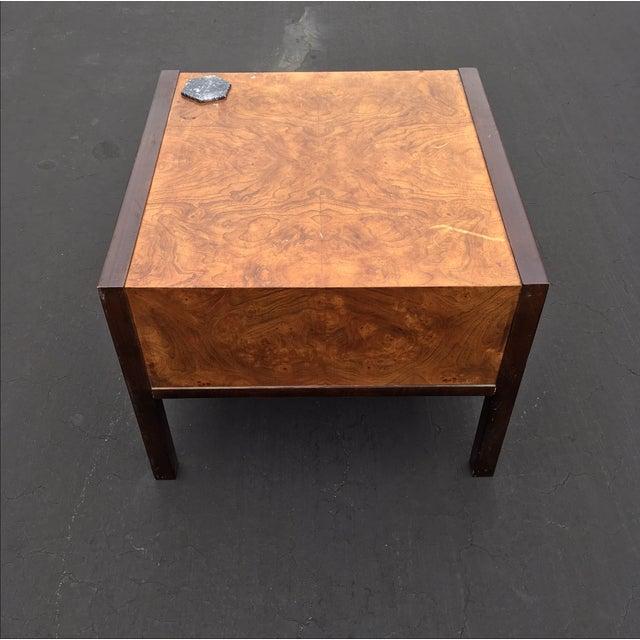 Burl Wood & Mahogany 2 Drawer Side Table - Image 8 of 10