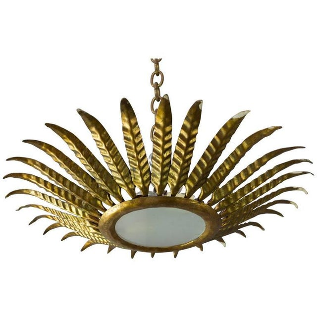 Brass Spanish Gilt Metal Sunburst Ceiling Fixture With Leaf Decoration For Sale - Image 8 of 8