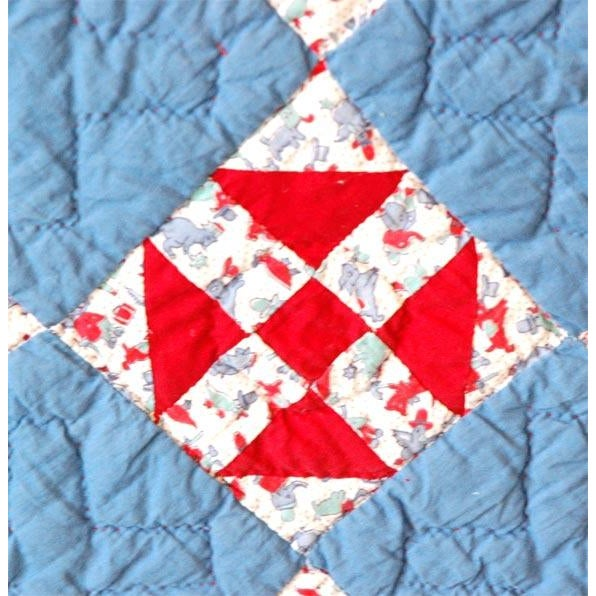 1930s Red, White and Blue Doll Quilt For Sale - Image 9 of 9