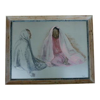 1970s Contemporary Pastel Drawing of Two Native Woman by Francisco Zuniga