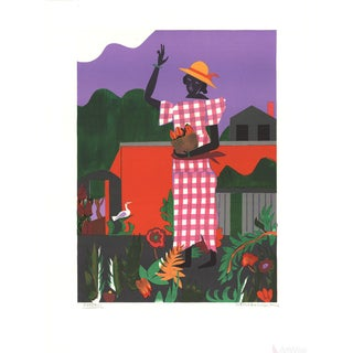 Romare Bearden, Girl in Garden, 1979 Lithograph, Signed