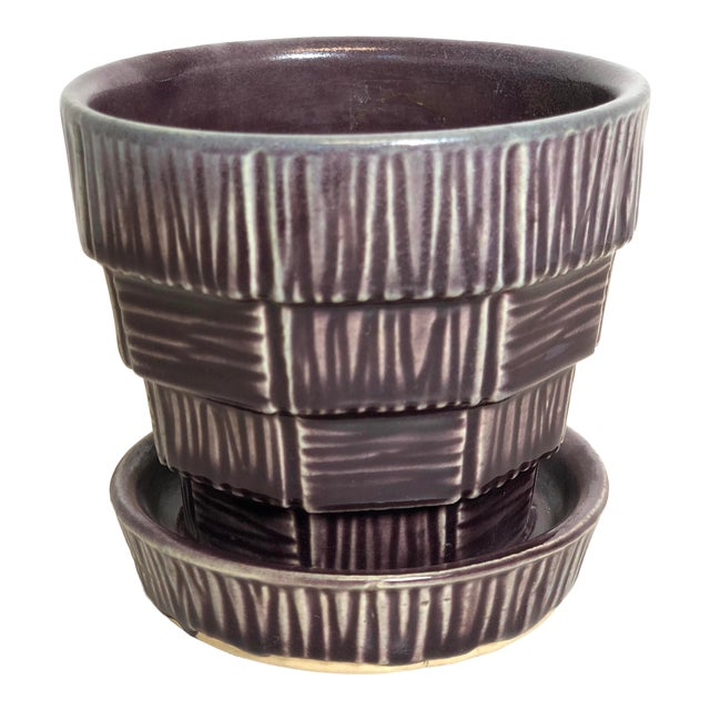 """McCoy Pottery Small """"Dark Purple"""" Mid-Century Flowerpot and Saucer For Sale"""