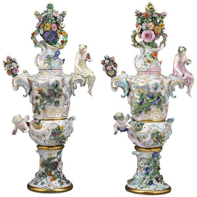 Ceramic Meissen Autumn and Summer Porcelain Urns For Sale - Image 7 of 7