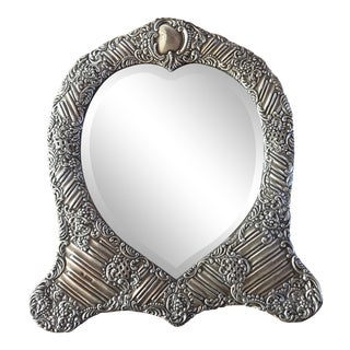 Late 19th Century Silver Heart Mirror For Sale