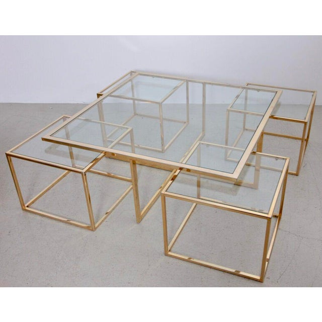 Huge Coffee Table in Brass with Four Nesting Tables by Maison Charles For Sale - Image 6 of 6