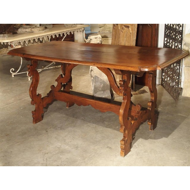 19th Century Tuscan Walnut Table With Shaped Wooden Stretchers For Sale - Image 13 of 13