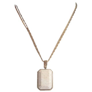 Goossens Paris Pale Gold and White Marble Pendant Necklace For Sale