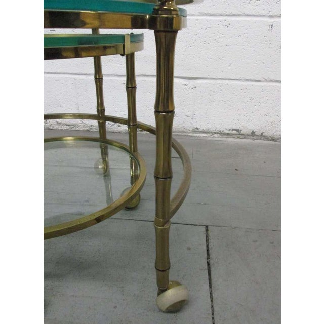 French Brass Faux Bamboo Nesting Tables For Sale - Image 3 of 4