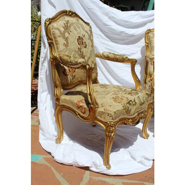 Pr. Of Signed Maison Jansen Arm Chairs Late 19c. Louis XV Style For Sale - Image 9 of 12