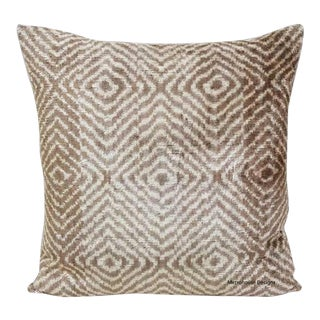 Large Ivory and Taupe Silk Velvet Pillow For Sale