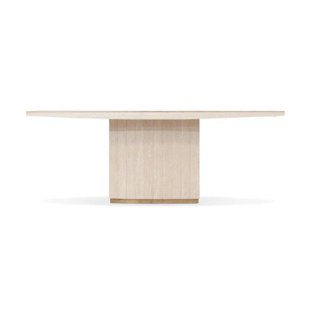 Hollywood Regency Willy Rizzo Travertine Dining Table For Sale - Image 3 of 8