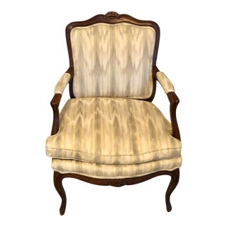 Vintage Bergere Chair With Neutral Flamestich Upholstery For Sale