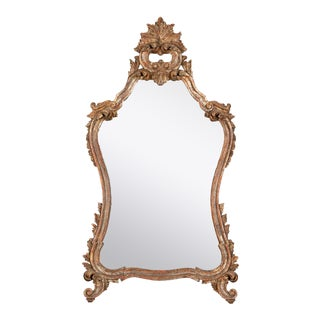Vintage Carved Baroque Style Gilt Wall or Console Mirror For Sale