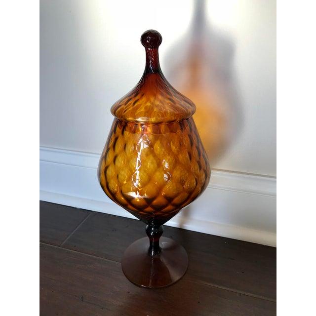 Mid-Century Modern Mid-Century Italian Empoli Glass Apothecary Jar For Sale - Image 3 of 3
