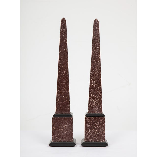 "A fine pair of Italian Grand Tour Egyptian Porphyry Obelisks, circa 1900 Measures: 15"" high x 3.2"" wide Good quality. Good..."