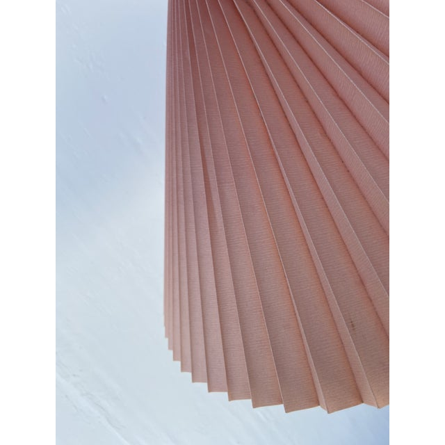 Wood 1970s Caprani Two-Toned Teak Bentwood Floor Lamp with Blush Pink Pleated Shade For Sale - Image 7 of 11