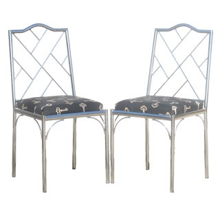 Vintage Milo Baughman Style Chrome Chinese Chippendale Chairs, Pair For Sale