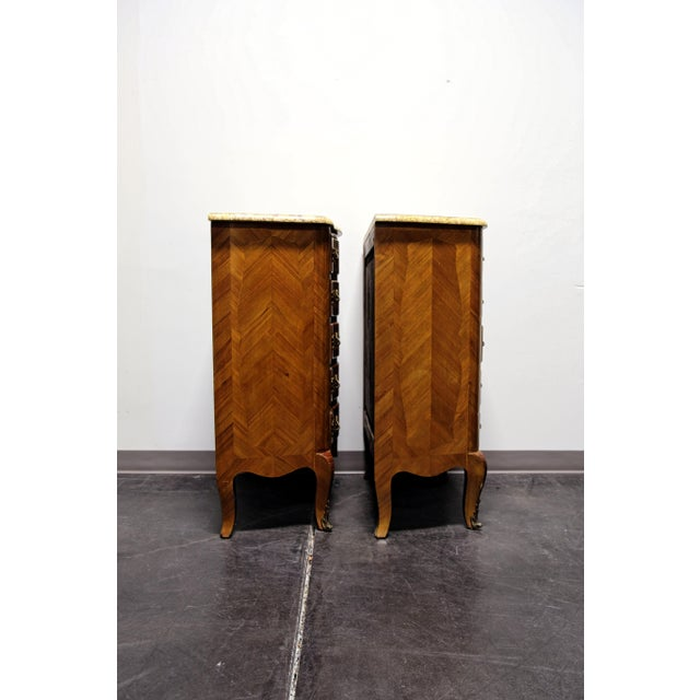 Gold French Louis XV Style Inlaid Kingwood Marble Top Lingerie Chests - Pair For Sale - Image 8 of 13