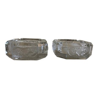 "Vintage Gumps Glass ""Zodiac"" Ashtrays - a Pair For Sale"
