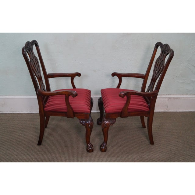 Maitland Smith Mahogany Chippendale Arm Chairs - 2 - Image 3 of 10