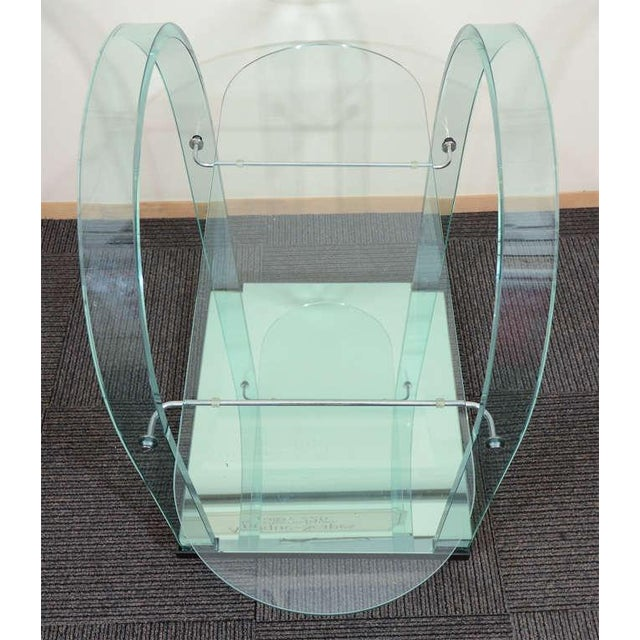 FRENCH MODERNIST GLASS AND MIRROR SERVING CART For Sale In Philadelphia - Image 6 of 6