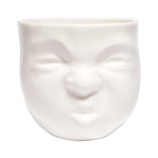 "White Ceramic ""Pouty"" Face Cup - Image 1 of 6"
