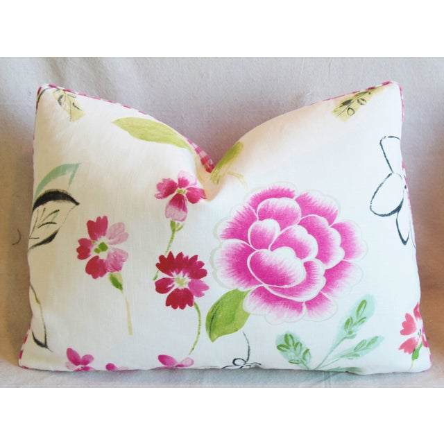 "Early 21st Century French Manuel Canovas Floral Linen Feather/Down Pillows 22"" X 16"" - Pair For Sale - Image 5 of 13"