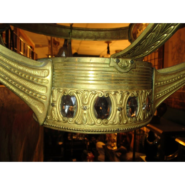 Traditional 3-Globe Vienna Secession Gilt Bronze Chandelier For Sale - Image 3 of 6