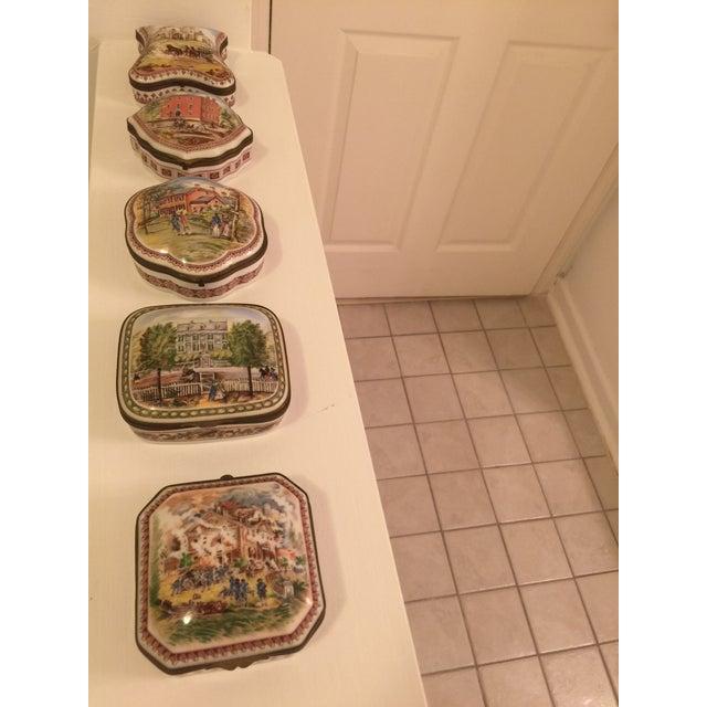 Ceramic Vintage Porcelain De Paris Boxes - Set of 5 For Sale - Image 7 of 12