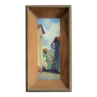 Vintage Mid-Century Village & Landscape Painting For Sale